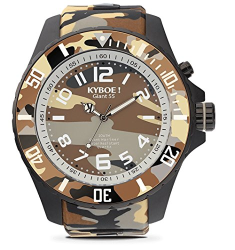 KYBOE! Quartz Stainless Steel and Silicone Watch (Model: Desert Camo)