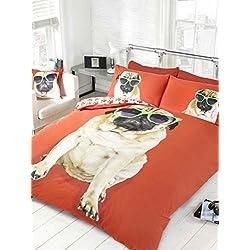 Ropa de cama Reversible Heaven, con diseño de. FUNDA DE EDREDÓN DE PERRO CARLINO PERCY, ROJO. FUNDA DE EDREDÓN. Sol de perro, diseño de huellas de en marcha atrás.
