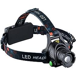 VicTsing - Linterna frontal para cabeza impermeable LED de 1000 lumens con pilas recargables para camping/pesca/ciclismo/carrera/caza