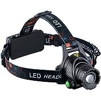 VicTsing - Linterna frontal para cabeza impermeable LED de 1000 lumens con pilas recargables para camping / pesca / ciclismo / carrera / caza
