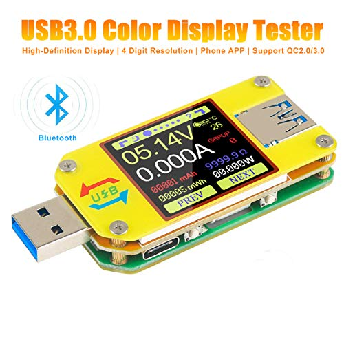 UM34C USB Tester Meter Voltmeter USB Multimeter Spannung Strom USB Spannungsprüfer Bluetooth-Amperemeter-Multimeter 1,44-Zoll-Farb-LCD-Display USB 3.0 Typ - C Kabelwiderstand Impedanz meter laden - Farb-lcd-display