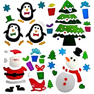 Atlona - Christmas Window Stickers, 4 Sheets, Christmas Gel Clings