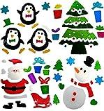 4x De 'Noël' Fenêtre Stickers-Gel S'accroche En Verre Décoration