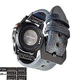 YOOSIDE - Cinturino per Orologio Garmin Fenix 3, 26 mm, Stile Vintage, in Vera Pelle, per Garmin Fenix 5X/5X Plus, Fenix 3/3 HR, Quatix 3, Tactix Bravo, Colore: Blu