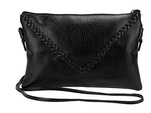 ODN Punk Art Frauen Schwarze PU-Leder Crossbody Clutch Tasche Umschläge Umhängetasche Handtasche (Schwarzes Leder-umschlag)