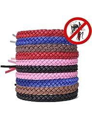 [Deet Free] AcTopp Pulsera Antimosquitos Paquete de 10 Pulseras de Cuero Brazalete Repelente de Mosquitos de Infusiones Naturales-Pack Familiar-para Protección Interior, al Aire Libre, Viaje, Camping Envase de 2 brazaletes X 5 colores distintos