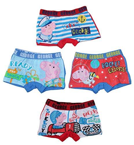 Peppa Pig Wutz Jungen Unterwäsche Boxer Shorts 4er Set (6/8 Jahre) (Herren Pants George)