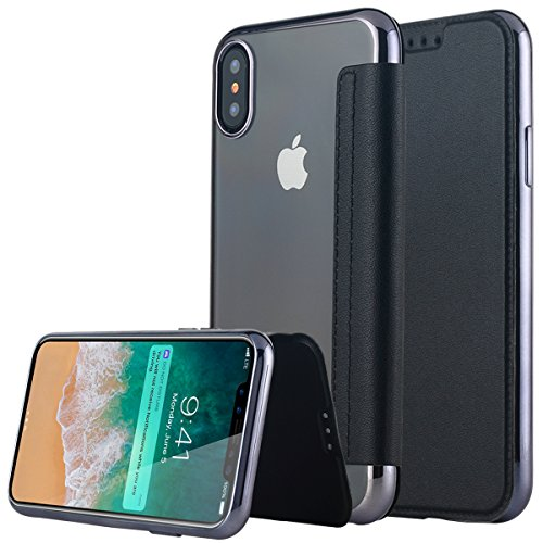iPhone X Hülle,iPhone X Case,iPhone 10 Hülle Snewill Slim PU Leather Folio Flip Handyhülle with Card Slot & Clear Soft TPU Case Cover Schutzhülle für Apple iPhone X/10 - Black Black