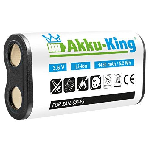 Akku-King Akku kompatibel zu NIKON Coolpix 600, Samsung DigiMax V3, Olympus D390, Canon PowerShot A300- ersetzt CR-V3, CRV3, LB01 - Li-Ion - 1450mAh Crv3 3v Lithium Batterie