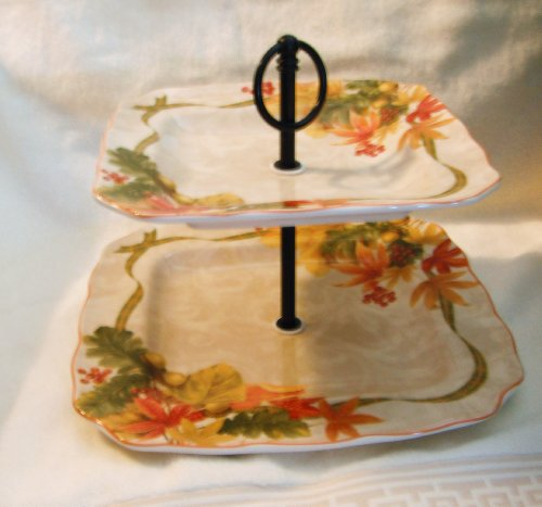 222 Fifth International Autumn Celebration Fall Fine China Two Tier Serving Tray by 222 Fifth 222 Fifth China