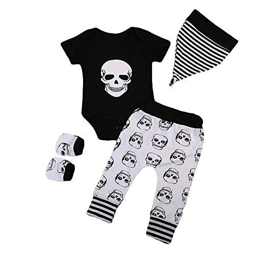 OverDose Damen Neugeborenes Baby Halloween Brief Kürbis Strampler Overall + Hosen Set Kleidung Cosplay Partei Soft Suit