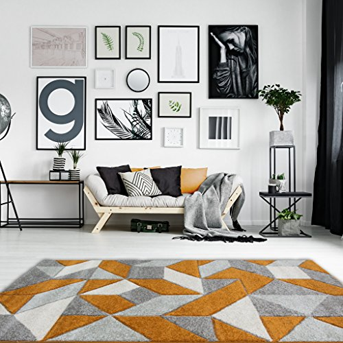 Rio Terracotta Orange Geometric Tiles Mosaic Modern Design Living Room Area Rug 160cm x 230cm