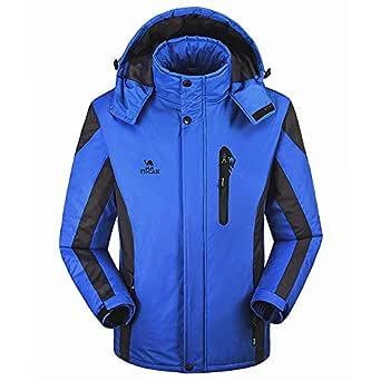 aliveGOT Men's Ski Fleece Waterproof Parka Windproof Warm Winter Jacket with Hood (Blue, XL)