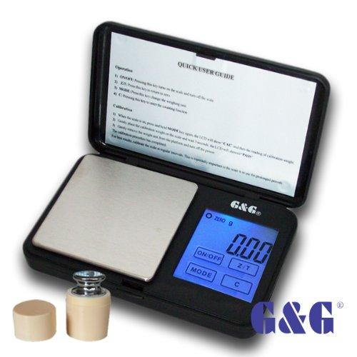 G&G TS Feinwaage Taschenwaage Digitalwaage Münzwaage Goldwaage Scale (Schwarz, 100g x 0.01g inkl. Kalibriergewicht)