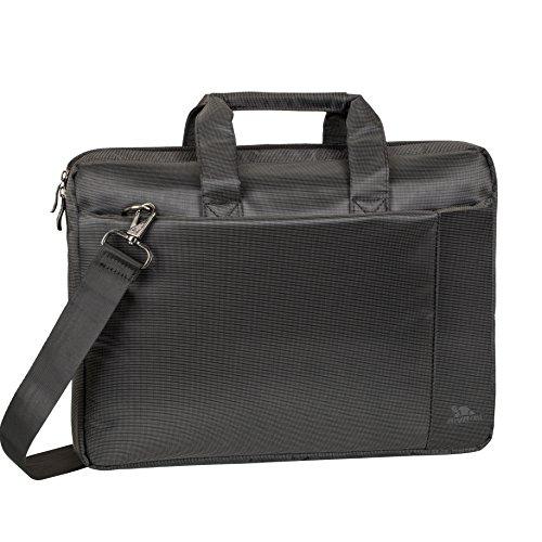 """RIVACASE Laptoptasche bis 15.6"""" – Kompakte Tasche mit zusätzlich gepolsterten Notebookfach und viel Stauraum – Schwarz"""
