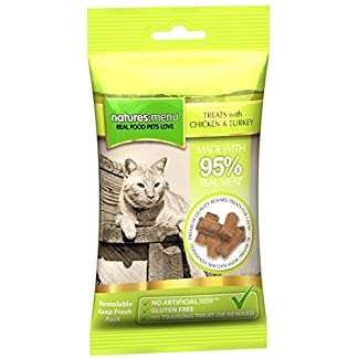 natures menu chicken & turkey cat treats, made with 95% real meat, 12 x 60g pouches Natures Menu Chicken & Turkey Cat Treats, Made with 95% Real Meat, 12 x 60g Pouches 51Xlf0 rihL