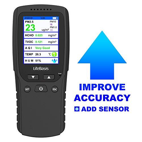 LifeBasis Digitales Formaldehyde Detektor HCHO PM2.5 PM1.0 PM10 TVOC TEMP AQI Tester Thermo Hygrometer Raumluftüberwachung Portable Luft Qualität Monitor Messgerät [Verbesserte Version] (Temp Führen)