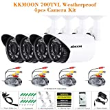 KKmoon 4-er / Los 700TVL Kameras CMOS 3.6mm Wetterfest IP66 IR-CUT Filter Tag / Nacht Outdoor / Indoor Haussicherheit CCTV Gewehrkugel Kamera Set