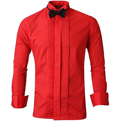 HARRMS HARRMS Herren Smoking Hemd Slim Fit mit Krawatte Manschettenknopf Button Down Für Business Hochzeit Freizeit Bügelleicht/Bügelfrei,Rot,38