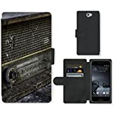 PU Leder Wallet Case Folio Schutzhülle // F00025423 Verfallene Radio // HTC One A9 (Not Fit M9)