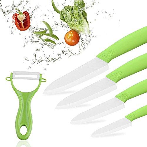 SUPERSUN Keramikmesser Set, Küchenmesser Set Kochmesser, Rostbeständig und Fleckenbeständig, 4-Teilig Allzweckmesser und 1 Sparschäler, Grün