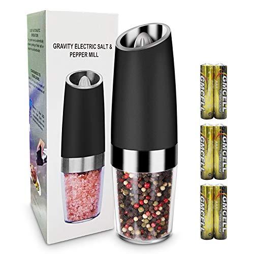 Amoladora de Sal y Pimienta, Molinillo de Pimienta Eléctrica de Acero Inoxidable y Molinillo de Sal con LED con Aspereza de Molienda Ajustable