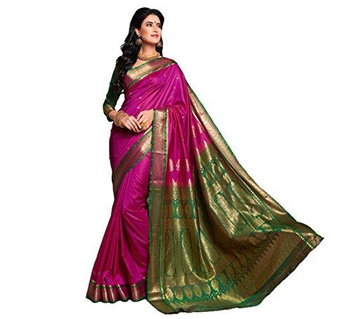 Craftsvilla Women's Silk Saree With Blouse Piece (Sania Jacd_Pink)