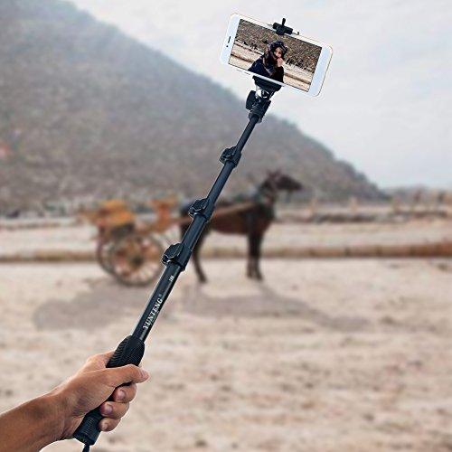 Handheld Selfie Stick-Verlängerung mit Gimbal Handgriff tragbar Universal Kompatibilität bis 50Zoll 180Grad drehbar