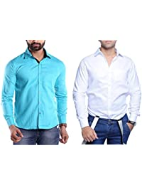 Collection Of Two Stylish Shirts For Men By Konestelo(Sky Blue,White)