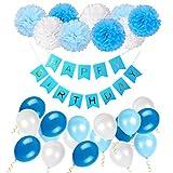 Geburtstag Dekoration Set Happy Birthday, Junge und Mädchen Geburtstagsparty Girlande Luftballons Pom Poms Papierblume Rosa -- Von WonderforU