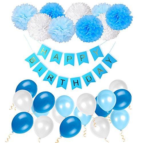 Geburtstag Dekoration Set Happy Birthday, Junge und Mädchen Geburtstagsparty Girlande Luftballons Pom Poms Papierblume Rosa -- Von WonderforU (Geburtstagsparty Für Jungen)