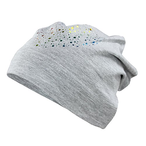 TupTam Mädchen Beanie Mütze mit Herz Baumwolle Topfmütze, Farbe: Grau, Größe: S (2 - 3 Jahre / KU ca. 49-51 cm)