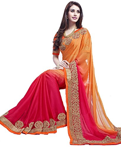 Aracruz Orange Pink Georgette Saree for women Partywear new wedding collection 2018...