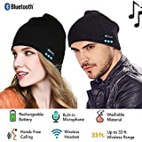 Cotop Fashion Bluetooth en tricot bonnet avec écouteurs stéréo et microphone mains libres Talking Bonnet chaud épais doux pour iPhone Samsung Android et iPad hommes et femmes de cadeau de Noël (Noir)