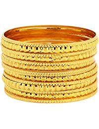 The Jewelbox Traditional 22K Gold Plated Bangle Pair Set Of 16 For Women