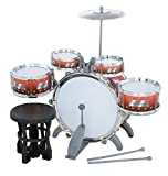 #6: Jazz Drum Set With Chair - Music Toy Instrument For Kids - 10 Pc Multi Color