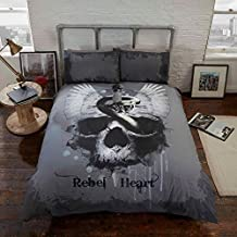 Rebel Unique Rebel Heart Grey Gothic Skull Bedding Duvet Cover & Pillowcases Set-King
