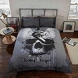 Rebel Heart Bettwäsche-Set aus Bettbezug und Kissenbezügen, Gothic Skull, Grau, King Size
