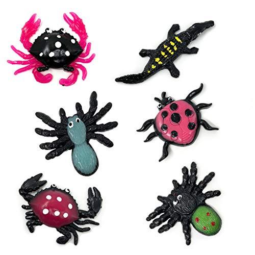 (sunhoyu Neuheit Plastik Tier Spielzeug ,Halloween Party Trick Spielzeug, Halloween Scary Sticky Spider Krabbe Lizard Spielzeug Schleim Squeeze Gags Witz Spielzeug)