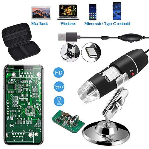 Jiusion Original 40-1000X USB Mikroskop mit tragbaren Tragetasche, Digitale Vergrößerung Endoskop Mini Kamera 8 LEDs Metall Basis für Micro USB Typ C Android, Windows Mac Linux Chrome