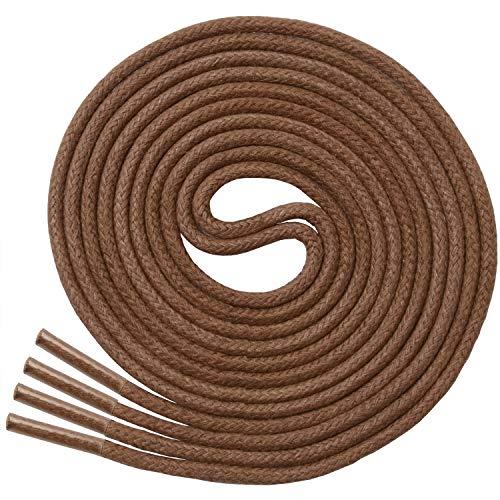 Miscly - Schnürsenkel für Anzugschuhe - Gewachst Rund Reißfest Dünn [3 Paar] - 100% Baumwolle - Ø 2.4 mm (91 cm, Braun)
