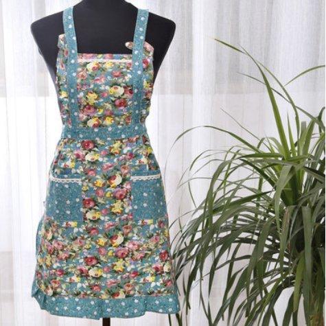Qinlee Schürzen Küchenschürze Uniformen Baumwolle Grillschürze Taschen Kochen für Frauen Männer 75*75 cm (Baumwoll-uniform)