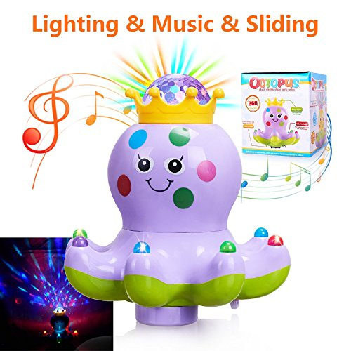 Baby Toys Musical Lighting Walking Octopus Toys Lights Action Kids Music Toys for Girls and Boys Kids or Toddlers---Purple