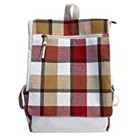 ALWYHH Satchel Soft Canvas Backpack Cute Plaid Backpack Girl Campus Leisure Bag Wild Travel Backpack School Backpack For Teenage