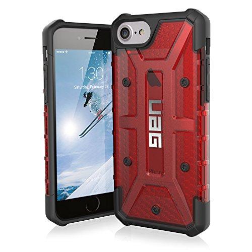 Urban Armor Gear Plasma Schutzhülle Nach US-Militärstandard für Apple iPhone 8/7/6S/6 - Transparent (Rot) [Verstärkte Ecken | Sturzfest | Antistatisch | Vergrößerte Tasten] - IPH8/7-L-MG Ultra Light Feather Case