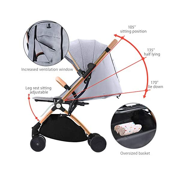 SONARIN Lightweight Stroller,Compact Travel Buggy,One Hand Foldable,Five-Point Harness,Great for Airplane(Dark Blue) SONARIN Size:Suitable from birth up to 15kg, length:66CM, width:48cm, height:98cm.Folding up:60CM*48CM*26CM. Great for Airplane,can be placed in any car boot. Safe:With sturdy aluminum alloy, compact body and five-point seat harness,each stroller has been pressure tested to provide security for each baby. Quality and Design:The backrest of the stroller supports sitting, half lying, lying,all three angles,lengthened and widened sleeping basket. Four wheel independent shock absorbing and built-in bearings make it smoother and quieter. 4