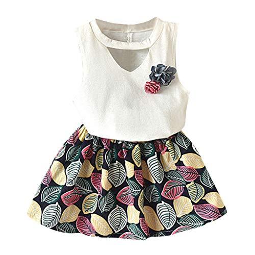 feiXIANG mädchen Röcke Zwei stücke Set Kleidung Kinder Kleid Rock Chiffon Bluse + Dot Rock Printkleid (3-4 Jahre/11, Y/Weiß)