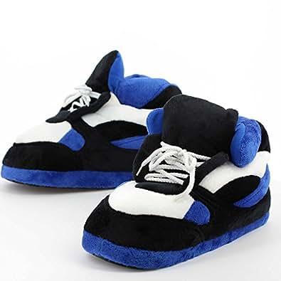Sleeper'z – Chaussons Sneakers – Adulte unisexe - Homme et Femme – Bleu et Noir - M