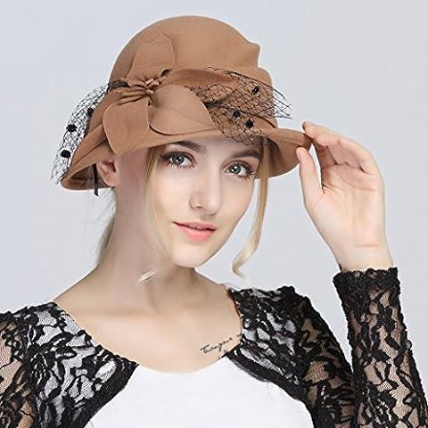 casa Monopoli Outdoor cappello di lana cappello selvaggio filati di seta fiori Curling bacino berretto di lana Materiale Codice per adulti ( colore : 1 )