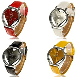 Fashion Crystal Love Heart Dial Leather Band Womens Quartz Wrist Watch